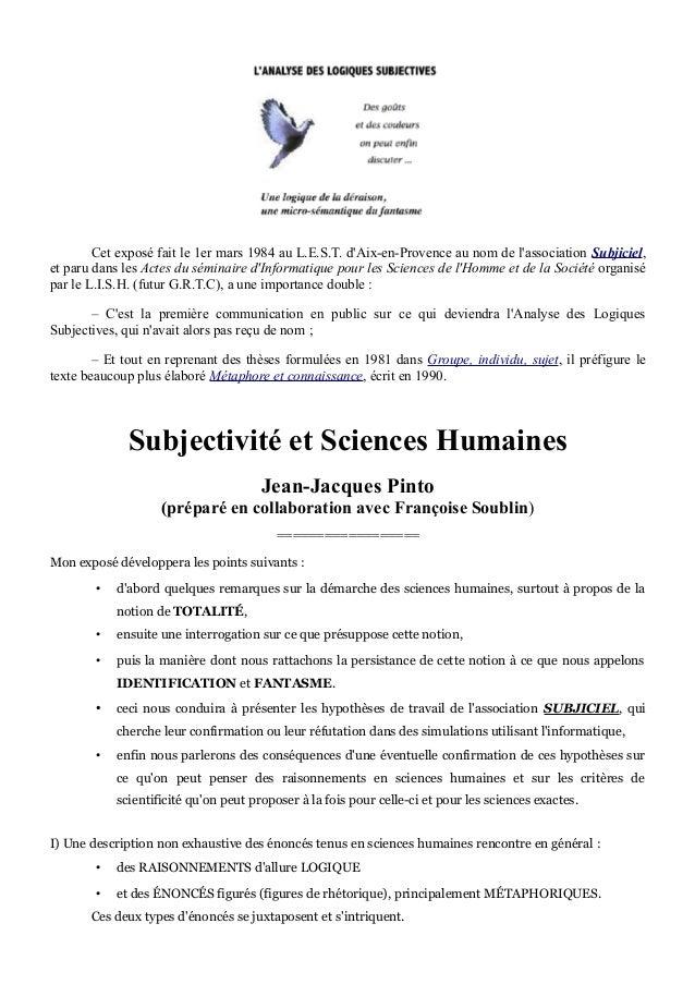 Cet exposé fait le 1er mars 1984 au L.E.S.T. d'Aix-en-Provence au nom de l'association Subjiciel, et paru dans les Actes d...