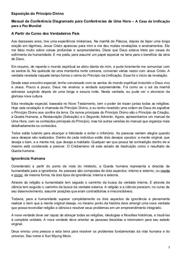 Exposição do Princípio Divino Manual de Conferência Diagramado para Conferências de Uma Hora – A Casa da Unificação para a...