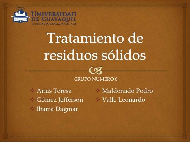  Arias Teresa  Gómez Jefferson  Ibarra Dagmar  Maldonado Pedro  Valle Leonardo FACULTAD DE CIENCIAS NATURALES GRUPO N...