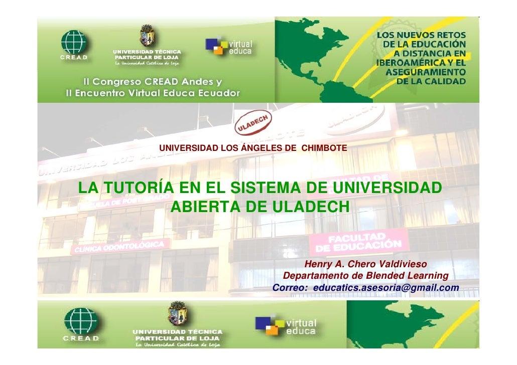 Universidad Los Ángeles de Chimbote        UNIVERSIDAD LOS ÁNGELES DE CHIMBOTELA TUTORÍA EN EL SISTEMA DE UNIVERSIDAD     ...