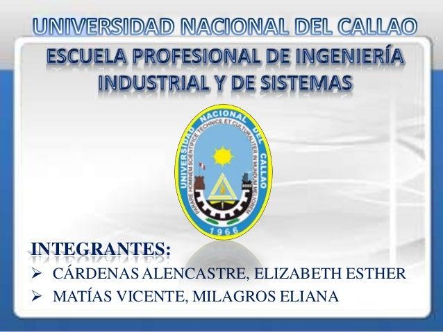 INTEGRANTES: CÁRDENAS ALENCASTRE, ELIZABETH ESTHER MATÍAS VICENTE, MILAGROS ELIANA