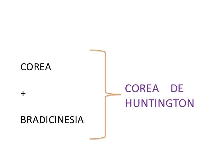COREA <br />+<br />BRADICINESIA<br />COREA    DE  HUNTINGTON<br />