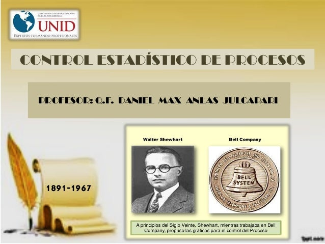 CONTROL ESTADÍSTICO DE PROCESOS 1891-1967 PROFESOR: Q.F. DANIEL MAX ANLAS JULCAPARI