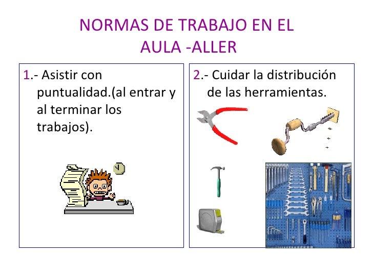 NORMAS DE TRABAJO EN EL  AULA -ALLER <ul><li>1 .- Asistir con puntualidad.(al entrar y al terminar los trabajos). </li></u...
