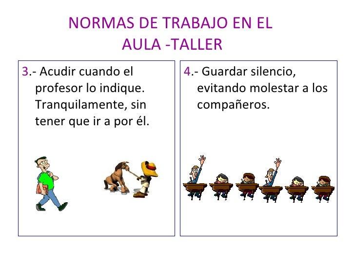 NORMAS DE TRABAJO EN EL  AULA -TALLER <ul><li>3 .- Acudir cuando el profesor lo indique. Tranquilamente, sin tener que ir ...
