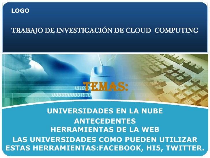 TRABAJO DE INVESTIGACIÓN DE CLOUD  COMPUTING<br />    Temas:<br />UNIVERSIDADES EN LA NUBE    <br />ANTECEDENTES          ...
