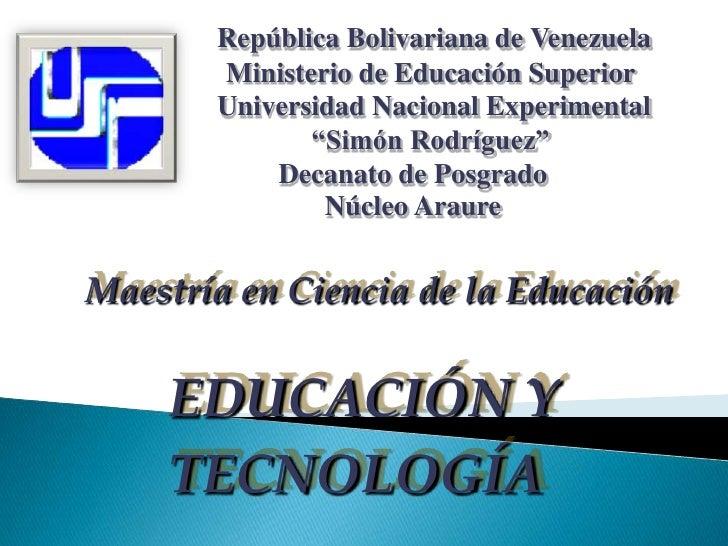 República Bolivariana de Venezuela         <br />                      Ministerio de Educación Superior   <br />          ...