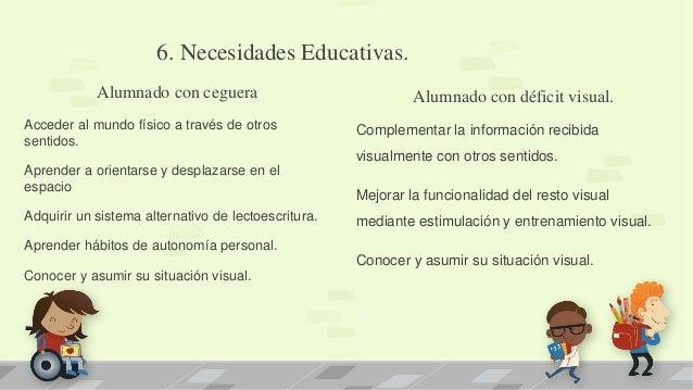 6. Necesidades Educativas. Alumnado con ceguera Acceder al mundo físico a través de otros sentidos. Aprender a orientarse ...