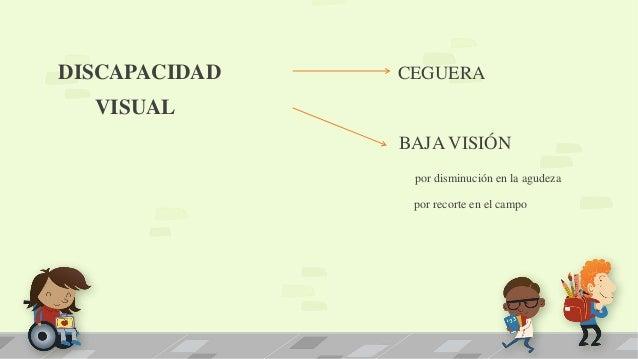 DISCAPACIDAD CEGUERA VISUAL BAJA VISIÓN por disminución en la agudeza por recorte en el campo