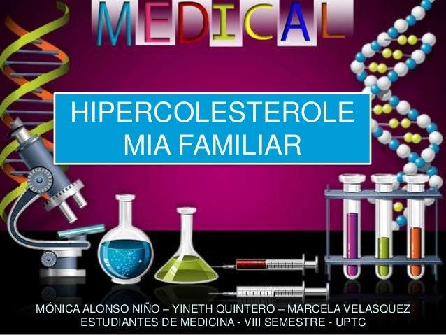 HIPERCOLESTEROLE MIA FAMILIAR MÓNICA ALONSO NIÑO – YINETH QUINTERO – MARCELA VELASQUEZ ESTUDIANTES DE MEDICINA - VIII SEME...