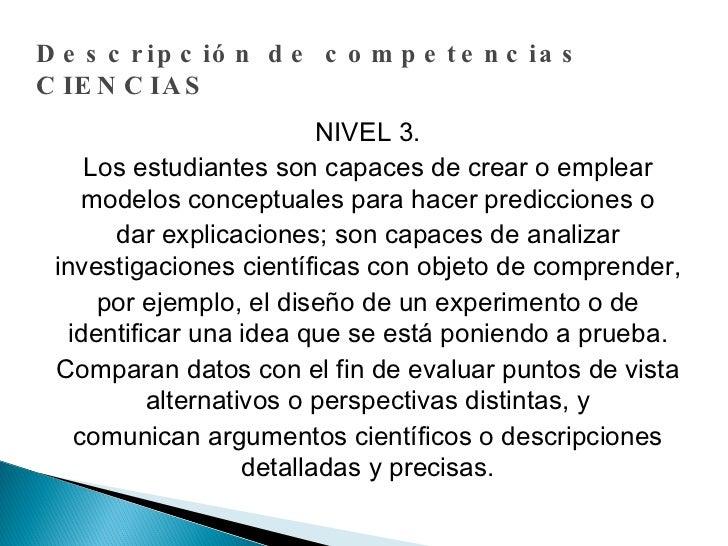 Descripción de competencias CIENCIAS NIVEL 3. Los estudiantes son capaces de crear o emplear modelos conceptuales para hac...