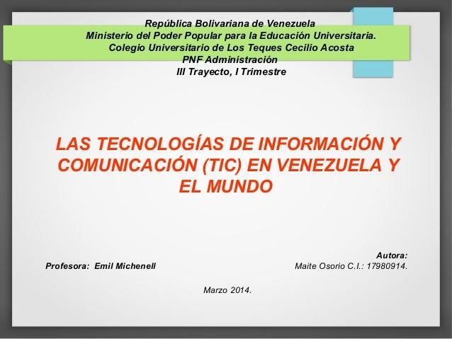 República Bolivariana de Venezuela Ministerio del Poder Popular para la Educación Universitaria. Colegio Universitario de ...