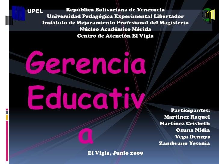 UPEL        República Bolivariana de Venezuela      Universidad Pedagógica Experimental Libertador    Instituto de Mejoram...