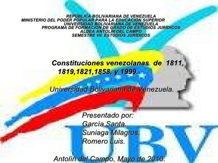 REPÚBLICA BOLIVARIANA DE VENEZUELA MINISTERIO DEL PODER POPULAR PARA LA EDUCACIÓN SUPERIOR  UNIVERSIDAD BOLIVARIANA DE VEN...