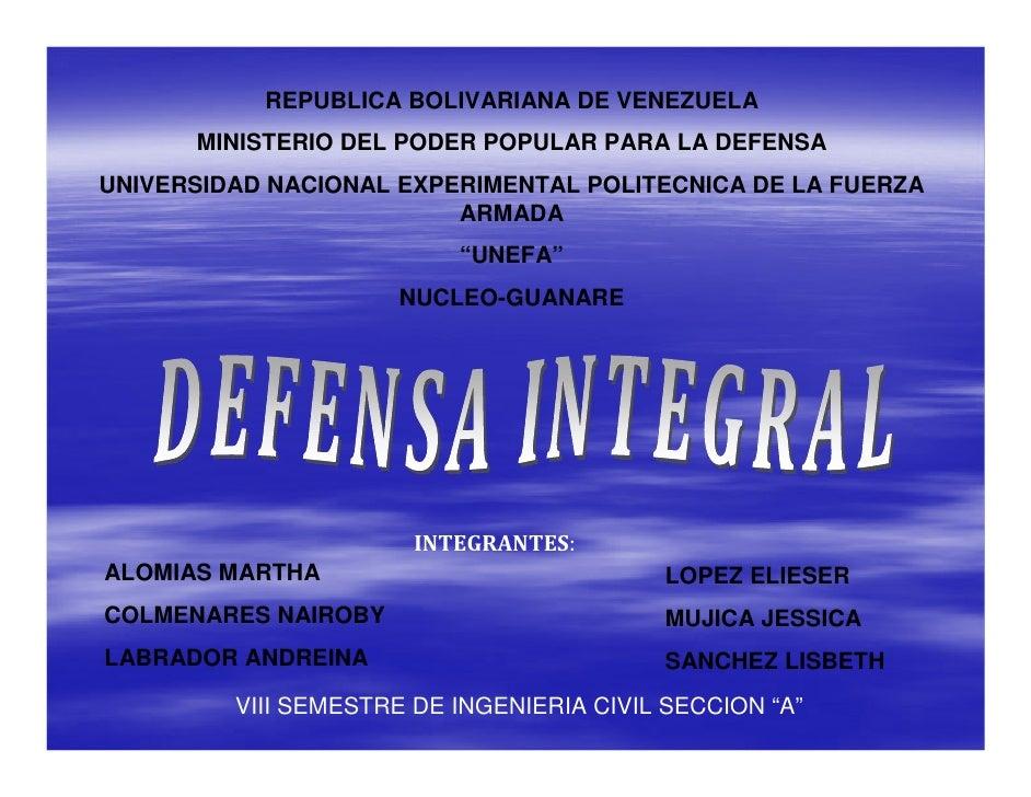 REPUBLICA BOLIVARIANA DE VENEZUELA      MINISTERIO DEL PODER POPULAR PARA LA DEFENSAUNIVERSIDAD NACIONAL EXPERIMENTAL POLI...