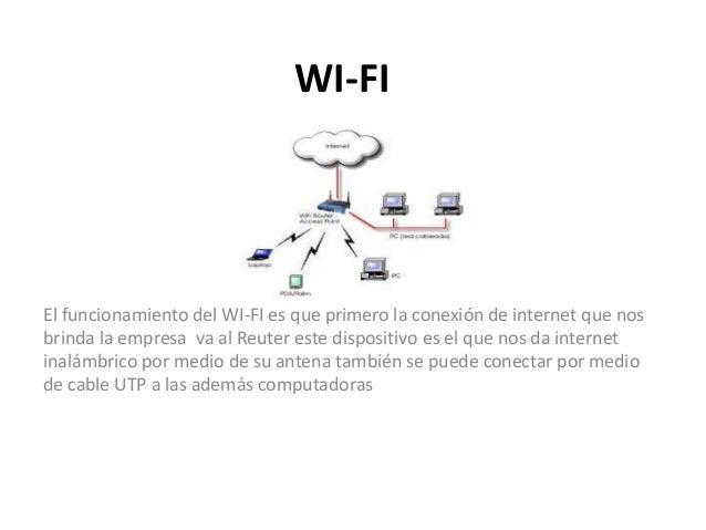 WI-FI El funcionamiento del WI-FI es que primero la conexión de internet que nos brinda la empresa va al Reuter este dispo...