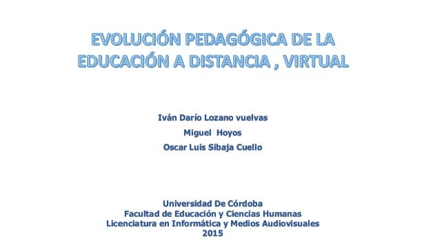 Iván Darío Lozano vuelvas Miguel Hoyos Oscar Luis Sibaja Cuello Universidad De Córdoba Facultad de Educación y Ciencias Hu...