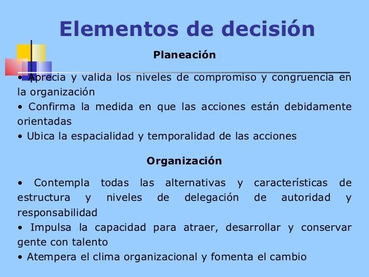 Elementos de decisión <ul><li>Planeación </li></ul><ul><li> </li></ul><ul><li>Aprecia y valida los niveles de compromiso ...