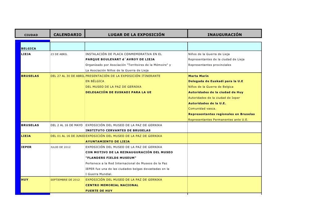 CIUDAD     CALENDARIO                         LUGAR DE LA EXPOSICIÓN                                  INAUGURACIÓNBELGICAL...