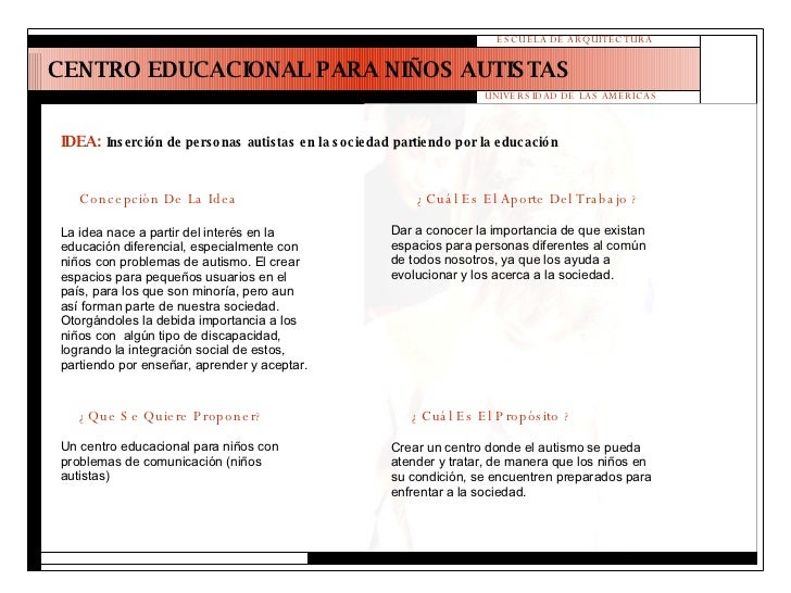 CENTRO EDUCACIONAL PARA NIÑOS AUTISTAS ESCUELA DE ARQUITECTURA UNIVERSIDAD DE LAS AMERICAS IDEA:   Inserción de personas a...