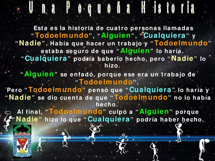 """<ul><ul><li>Esta es la historia de cuatro personas llamadas """" Todoelmundo """", """" Alguien """", """" Cualquiera """" y """" Nadie """". Habí..."""