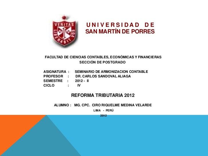 UNIVERSIDAD DE                       SAN MARTÍN DE PORRESFACULTAD DE CIENCIAS CONTABLES, ECONÓMICAS Y FINANCIERAS         ...
