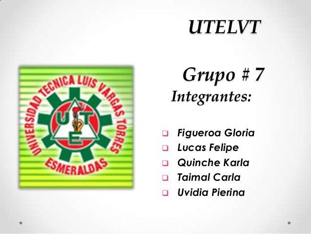 Grupo # 7 Integrantes:  Figueroa Gloria  Lucas Felipe  Quinche Karla  Taimal Carla  Uvidia Pierina UTELVT