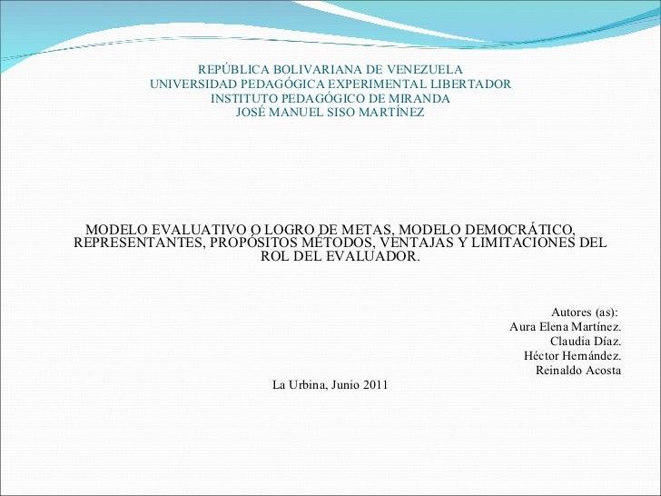 REPÚBLICA BOLIVARIANA DE VENEZUELA UNIVERSIDAD PEDAGÓGICA EXPERIMENTAL LIBERTADOR INSTITUTO PEDAGÓGICO DE MIRANDA JOSÉ MAN...