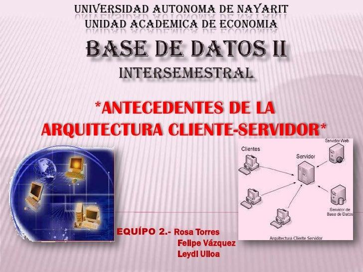 UNIVERSIDAD AUTONOMA DE NAYARITUNIDAD ACADEMICA DE ECONOMIA<br />Base de datos iiintersemestral<br />*ANTECEDENTES DE LA A...