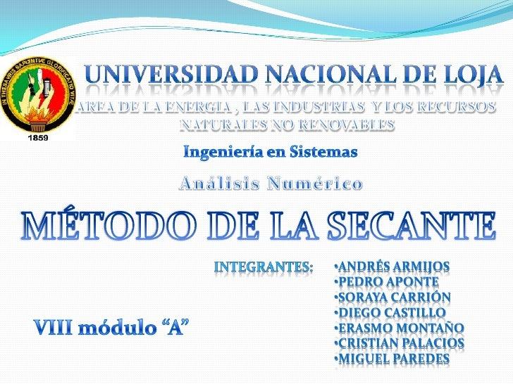 Universidad nacional de loja<br />AREA DE LA ENERGIA , LAS INDUSTRIAS  Y LOS RECURSOS <br />NATURALES NO RENOVABLES<br />I...