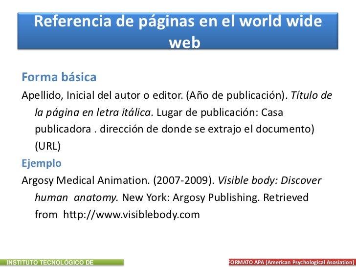 Como hacer referencias de paginas web segun apa