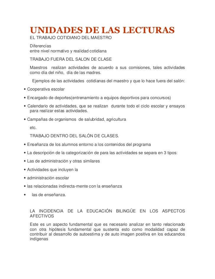 UNIDADES DE LAS LECTURAS    EL TRABAJO COTIDIANO DEL MAESTRO    Diferencias    entre nivel normativo y realidad cotidiana ...