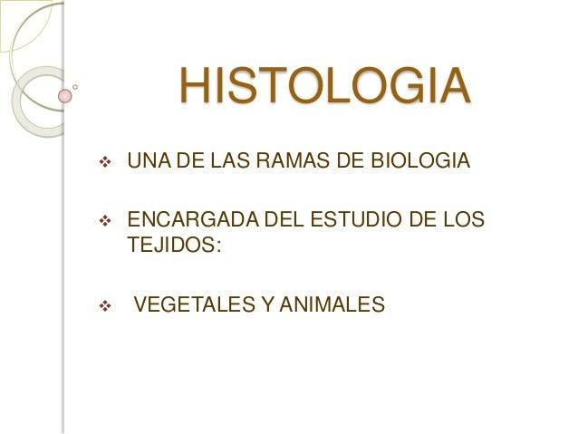 HISTOLOGIA   UNA DE LAS RAMAS DE BIOLOGIA   ENCARGADA DEL ESTUDIO DE LOS  TEJIDOS:   VEGETALES Y ANIMALES