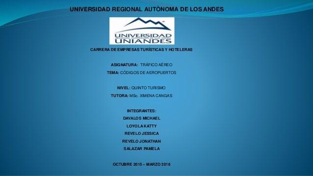 UNIVERSIDAD REGIONAL AUTÒNOMA DE LOS ANDES CARRERA DE EMPRESAS TURÍSTICAS Y HOTELERAS ASIGNATURA: TRÁFICO AÉREO TEMA: CÓDI...