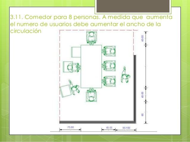 Dimensionamientos de las partes de una casa for Comedor 12 personas medidas
