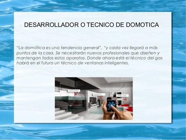 """DESARROLLADOR O TECNICO DE DOMOTICA """"La domótica es una tendencia general"""", """"y cada vez llegará a más puntos de la casa. S..."""