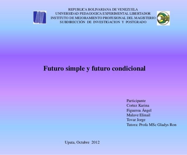 REPUBLICA BOLIVARIANA DE VENEZUELA     UNIVERSIDAD PEDAGOGICA EXPERIMENTAL LIBERTADOR  INSTITUTO DE MEJORAMIENTO PROFESION...
