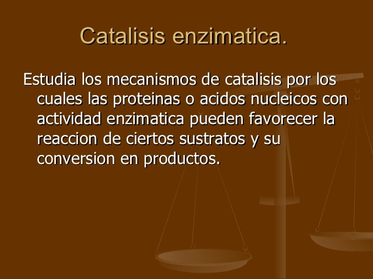 Catalisis enzimatica.  <ul><li>Estudia los mecanismos de catalisis por los cuales las proteinas o acidos nucleicos con act...