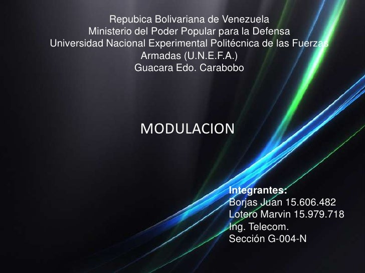 Repubica Bolivariana de VenezuelaMinisterio del Poder Popular para la DefensaUniversidad Nacional Experimental Politécnica...