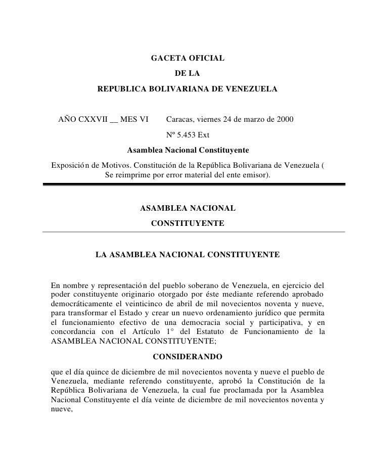 GACETA OFICIAL                                   DE LA             REPUBLICA BOLIVARIANA DE VENEZUELA  AÑO CXXVII __ MES V...