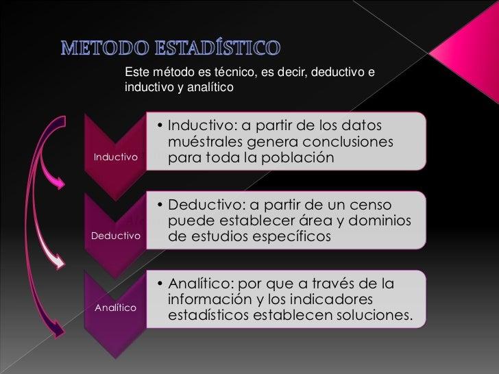 Este método es técnico, es decir, deductivo e      inductivo y analítico            • Inductivo: a partir de los datos    ...