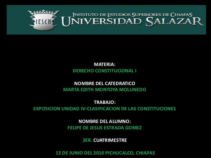 PLANTEL PICHUCALCO<br />MATERIA:<br />DERECHO CONSTITUCIONAL I<br />NOMBRE DEL CATEDRATICO<br />MARTA EDITH MONTOYA MOLLIN...