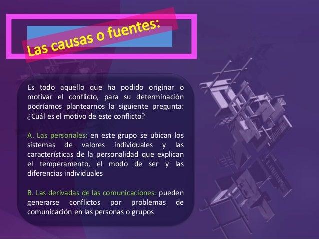 C. Causas estructurales o del entorno: el entorno tiene muchas variables que pueden afectar a las personas, grupos y sus r...