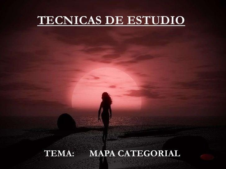 TECNICAS DE ESTUDIOTÉCNICAS DE ESTUDIO TEMA:   MAPA CATEGORIALTEMA:    MAPA CATEGORIAL