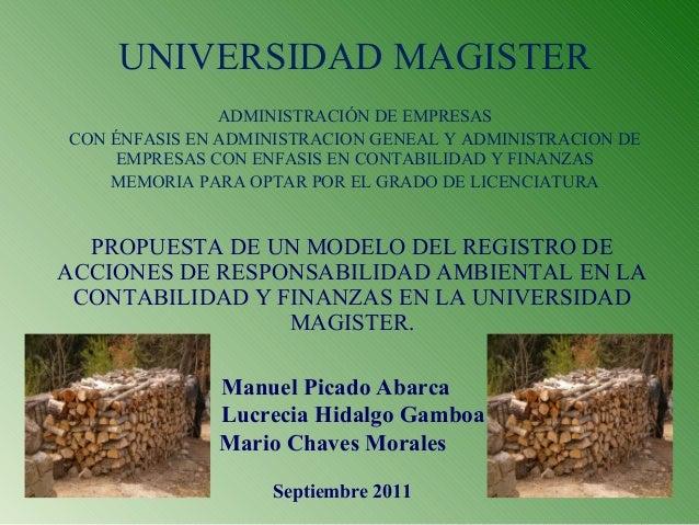 UNIVERSIDAD MAGISTER ADMINISTRACIÓN DE EMPRESAS CON ÉNFASIS EN ADMINISTRACION GENEAL Y ADMINISTRACION DE EMPRESAS CON ENFA...