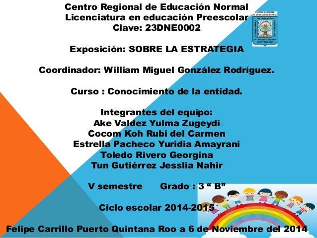 Centro Regional de Educación Normal Licenciatura en educación Preescolar Clave: 23DNE0002 Exposición: SOBRE LA ESTRATEGIA ...