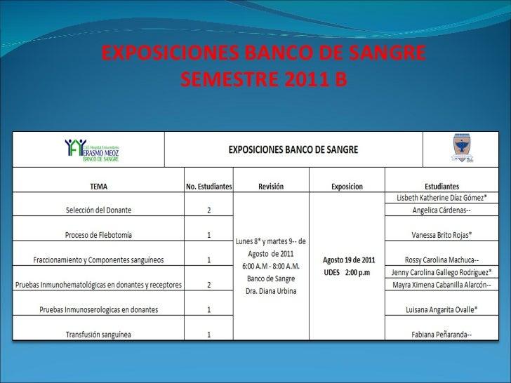 EXPOSICIONES BANCO DE SANGRE SEMESTRE 2011 B