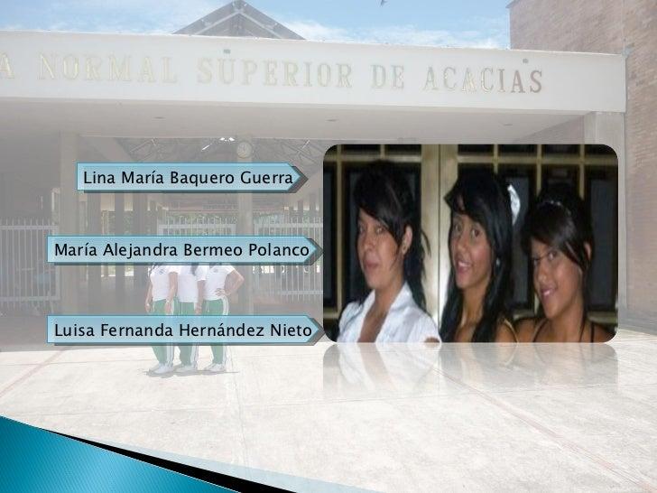 Luisa Fernanda Hernández Nieto Lina María Baquero Guerra María Alejandra Bermeo Polanco