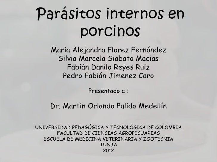 Parásitos internos en      porcinos     María Alejandra Florez Fernández      Silvia Marcela Siabato Macias         Fabián...