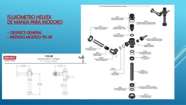Fluxometros helvex capacitacion instruccion instalaciones for Medidas de un inodoro